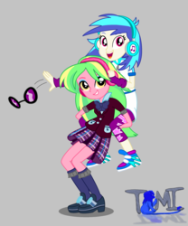 Size: 2500x3000 | Tagged: safe, artist:tommychipmunk, dj pon-3, lemon zest, vinyl scratch, equestria girls, clothes, female, glasses, gray background, headphones, leggings, lemonscratch, lesbian, looking at you, open mouth, shipping, shoes, simple background, smiling, sneakers, sunglasses