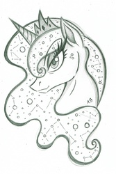 Size: 1298x1942 | Tagged: safe, artist:rossmaniteanzu, princess luna, pony, bust, constellation, ethereal mane, female, grayscale, mare, monochrome, pencil drawing, portrait, simple background, sketch, solo, starry mane, traditional art, white background