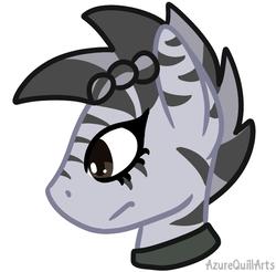 Size: 803x791 | Tagged: safe, artist:azure-quill, oc, oc only, oc:myra, pegasus, pony, zebra, zebrasus, bust, female, mare, simple background, solo, white background, zebra oc