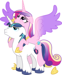 Size: 4740x5790 | Tagged: safe, artist:90sigma, edit, editor:slayerbvc, vector edit, princess cadance, shining armor, alicorn, pony, unicorn, the crystal empire, absurd resolution, accessory swap, cadance riding shining armor, crown, cute, cutedance, female, floppy ears, hoof shoes, jewelry, male, mare, ponies riding ponies, regalia, riding, shining adorable, simple background, spread wings, stallion, tired, transparent background, vector, wings