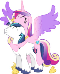 Size: 4740x5790 | Tagged: safe, artist:90sigma, edit, editor:slayerbvc, vector edit, princess cadance, shining armor, alicorn, pony, unicorn, the crystal empire, absurd resolution, accessory swap, cadance riding shining armor, crown, cute, cutedance, daaaaaaaaaaaw, female, floppy ears, happy, hoof shoes, hug, jewelry, male, mare, peytral, ponies riding ponies, regalia, riding, shining adorable, simple background, spread wings, stallion, transparent background, vector, wings