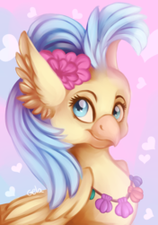 Size: 3496x4961   Tagged: safe, artist:gela98, princess skystar, classical hippogriff, hippogriff, my little pony: the movie, bust, ear fluff, female, flower, flower in hair, head, heart, heart background, painted, pink background, seashell necklace, simple background, solo