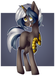 Size: 1646x2278 | Tagged: amputee, artist:liamsartworld, broken horn, gradient background, oc, oc only, one hoof raised, pony, prosthetic limb, prosthetics, safe, solo, steampunk, transparent background
