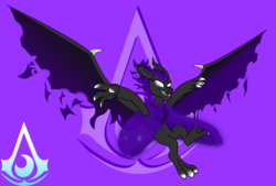Size: 1769x1196 | Tagged: antagonist, artist:darktailsko, bat, cape, cloak, clothes, commission, darkness, evil, fanart, fire, flying, illusion, oc, oc:vildrem, pony of shadows, safe, shroud, solo, vampire, vampire fruit bat