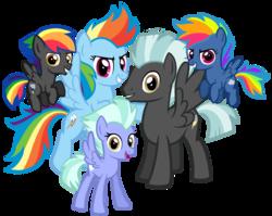 Size: 1540x1224 | Tagged: safe, artist:thecheeseburger, rainbow dash, thunderlane, oc, oc:silver rain, oc:thunder cloud, pegasus, pony, adorapiehater, colt, cute, dashabetes, evil pie hater dash, family, female, filly, filly evil pie hater dash, grin, hnnng, looking at you, male, mare, next generation, ocbetes, offspring, parent:rainbow dash, parent:thunderlane, parents:thunderdash, shipping, simple background, smiling, stallion, straight, thunderdash, transparent background
