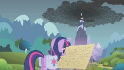 Size: 1280x720   Tagged: safe, screencap, twilight sparkle, pony, unicorn, dragonshy, dragon mountain, female, magic, map, mare, mountain, peak, saddle bag, smoke, solo, telekinesis, unicorn twilight
