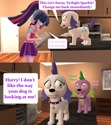 Size: 1920x2160 | Tagged: 3d, artist:red4567, book, clothes, collar, comic, dog, dogified, equestria girls, female, glasses, heart eyes, male, ponytail, raridog, rarity, safe, sci-twi, shipping, skirt, source filmmaker, sparity, species swap, spellbook, spell gone wrong, spike, spike the regular dog, straight, swiggity swooty, tail wag, transformation, twilight sparkle, wingding eyes