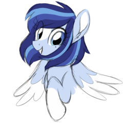 Size: 1024x1001 | Tagged: safe, artist:azure-art-wave, oc, oc only, oc:azure, pegasus, pony, beauty mark, blaze (coat marking), bust, coat markings, colored sketch, colored wings, colored wingtips, cute, ear fluff, facial markings, female, grin, looking at you, mare, ocbetes, raised hoof, simple background, smiling, socks (coat markings), solo, spread wings, squee, transparent background, two toned wings, wings