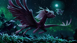 Size: 3071x1726 | Tagged: safe, artist:holivi, oc, oc only, bird, pegasus, pony, commission, ear fluff, feather, flying, full moon, ghost ship, large wings, looking forward, male, milky way galaxy, moon, night, night sky, outdoors, realistic anatomy, sailship, ship, sky, socks (coat markings), spread wings, stallion, starry night, stars, water, windswept mane, wings
