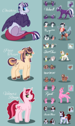 Size: 2550x4266 | Tagged: safe, artist:kittentrash, oc, oc only, oc:cheshire, oc:haywire, oc:inkwell, oc:love letter, oc:petit choux, oc:petit trésor, oc:riposte, oc:scarlet heart, oc:velours rouge, draconequus, earth pony, hybrid, pony, unicorn, yakony, draconequus oc, female, interspecies offspring, male, mare, next next generation, offspring, offspring's offspring, parent:discord, parent:donut joe, parent:flash sentry, parent:oc:haywire, parent:oc:inkwell, parent:oc:love letter, parent:oc:petit choux, parent:oc:riposte, parent:oc:scarlet heart, parent:prince rutherford, parent:princess cadance, parent:rainbow dash, parent:rarity, parent:shining armor, parent:twilight sparkle, parents:discodash, parents:flashlight, parents:rarijoe, parents:shiningcadance, parents:twiford, stallion, unshorn fetlocks