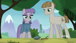 Size: 1920x1080 | Tagged: boulder (pet), discovery family logo, duo, earth pony, maudbriar, maud pie, mudbriar, pony, rock, safe, screencap, smiling, the maud couple, twiggy (pet), when he smiles, when she smiles