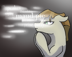 Size: 1260x1004 | Tagged: safe, artist:dragonsponies, mudbriar, earth pony, pony, season 8, the maud couple, gray background, mind palace, sherlock, simple background, solo, text, thinking