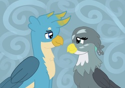 Size: 1337x949 | Tagged: safe, artist:annabear1211, gabby, gallus, griffon, spoiler:s08, abstract background, cute, duo, female, gabbus, gabbybetes, gallabetes, looking at each other, male, shipping, straight