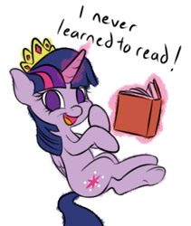Size: 280x332   Tagged: safe, artist:ethaes, twilight sparkle, alicorn, pony, the maud couple, book, crown, cute, dialogue, glowing horn, i never learned to read, illiteracy, jewelry, levitation, magic, no pupils, opposite day, regalia, self-levitation, simple background, telekinesis, that pony sure does love books, that was fast, tiara, twiabetes, twilight sparkle (alicorn), underhoof, white background