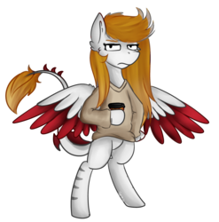 Size: 2663x2690 | Tagged: artist:deraniel, clothes, female, food, fullbody, mare, oc, pegasus, ponysona, safe, simple background, standing, tea, transparent background, wings