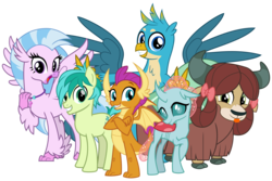 Size: 6000x4000   Tagged: safe, artist:cheezedoodle96, gallus, ocellus, sandbar, silverstream, smolder, yona, changedling, changeling, classical hippogriff, dragon, earth pony, griffon, hippogriff, pony, yak, school daze, .svg available, :p, absurd resolution, bunny ears (gesture), cloven hooves, crossed arms, crossed legs, cute, cuteling, diaocelles, diastreamies, excited, female, gallabetes, gasp, group, group photo, happy, jewelry, looking at you, male, monkey swings, necklace, open mouth, pose, sandabetes, shy, silly, simple background, smiling, smolderbetes, spread wings, student six, svg, teenager, tongue out, transparent background, vector, wings, yonadorable