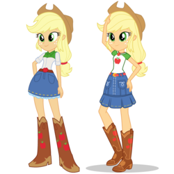 Size: 1475x1475 | Tagged: safe, artist:mewtwo-ex, applejack, equestria girls, equestria girls series, belt, boots, clothes, comparison, cowboy boots, cowboy hat, denim skirt, equestria girls prototype, female, freckles, geode of super strength, hat, high heel boots, shoes, simple background, skirt, smiling, stetson, transparent background, vector