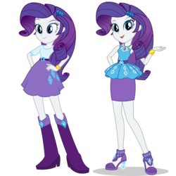 Size: 1475x1475 | Tagged: safe, artist:mewtwo-ex, rarity, equestria girls, equestria girls series, boots, bracelet, clothes, comparison, dress, equestria girls prototype, female, geode of shielding, hand on hip, high heels, jewelry, legs, long hair, shoes, simple background, skirt, transparent background, vector, wristband