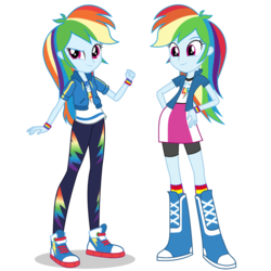 Size: 1475x1475 | Tagged: safe, artist:mewtwo-ex, rainbow dash, equestria girls, equestria girls series, boots, clothes, comparison, compression shorts, converse, cute, dashabetes, equestria girls prototype, female, geode of super speed, hand on hip, leggings, magical geodes, pants, shoes, shorts, simple background, skirt, smiling, sneakers, socks, transparent background, vector, wristband