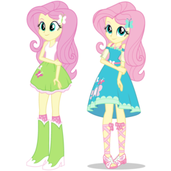 Size: 1475x1475 | Tagged: safe, artist:mewtwo-ex, fluttershy, equestria girls, equestria girls series, boots, clothes, comparison, cute, dress, equestria girls prototype, feet, female, geode of fauna, sandals, shoes, shyabetes, simple background, skirt, smiling, socks, tanktop, transparent background, vector