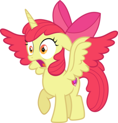 Size: 2834x2969 | Tagged: safe, artist:frownfactory, artist:parclytaxel, apple bloom, alicorn, .svg available, alicornified, apple bloom's bow, bloomicorn, bow, cutie mark, female, filly, hair bow, horn, open mouth, race swap, simple background, solo, startled, svg, transparent background, two toned wings, vector, wings