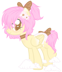 Size: 1200x1394 | Tagged: safe, artist:sugarplanets, oc, oc:artline, pegasus, pony, bow, choker, cloud, female, flower, flower in hair, hair bow, mare, simple background, solo, tail bow, transparent background