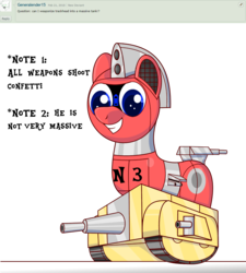 Size: 1349x1500   Tagged: safe, artist:trackheadtherobopony, oc, oc only, oc:trackhead, original species, pony, robot, robot pony, tank pony, wheelpone, answer, cannon, cute, deviantart, question, simple background, solo, tank (vehicle), text, transparent background, turret