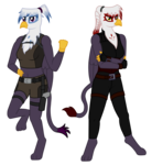 Size: 2090x2267 | Tagged: anthro, anthro oc, artist:syforcewindlight, crossed arms, doppelganger, griffon, griffon oc, leg in air, oc, oc:joanna, safe, simple background, tomb raider, transparent background