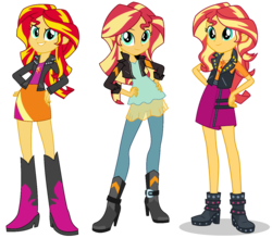 Size: 1189x1041 | Tagged: safe, artist:ryan1942, artist:sugar-loop, sunset shimmer, equestria girls, equestria girls series, friendship games, beautiful, boots, clothes, comparison, crossed arms, cute, female, geode of empathy, hand on hip, high heel boots, inkscape, jacket, leaning, leather jacket, looking at you, moe, ponyscape, shimmerbetes, shoes, simple background, skirt, smiling, smug, smugface, smugset shimmer, solo, transparent background, vector