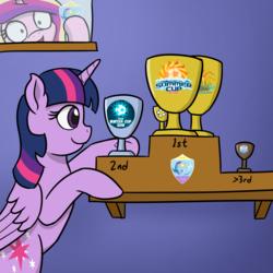 Size: 1280x1280 | Tagged: safe, artist:mkogwheel, princess cadance, twilight sparkle, alicorn, /mlp/, 4chan, 4chan cup, cup, hi anon, meme, trophy, twilight sparkle (alicorn)