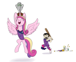 Size: 1187x978 | Tagged: safe, artist:brisineo, derpy hooves, princess cadance, alicorn, human, pegasus, pony, 4chan cup, baseball bat, cleats, clothes, dan vs, female, mare, open mouth, pain, pain star, shirt, simple background, smiling, sports shorts, spread wings, the burdened, this will end in pain, uniform, white background, wings
