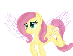 Size: 1800x1400 | Tagged: safe, artist:rainbowtashie, fluttershy, pegasus, pony, hidden message, incomplete, simple background, sketch, smiling, solo, spread wings, transparent background, wings, wip
