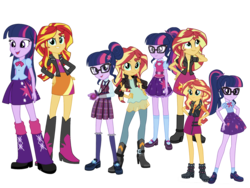 Size: 2048x1536 | Tagged: alicorn, artist:kingdark0001, artist:legoinflatables, artist:mewtwo-ex, artist:ryan1942, artist:sugar-loop, eqg summertime shorts, equestria girls, equestria girls (movie), equestria girls series, female, friendship games, lesbian, rainbow rocks, safe, sci-twi, scitwishimmer, shipping, simple background, spoiler:eqg specials, sunset shimmer, sunsetsparkle, sunset twiangle, transparent background, twilight sparkle, twilight sparkle (alicorn)