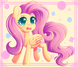 Size: 4024x3472 | Tagged: artist:fluffymaiden, cute, female, fluttershy, folded wings, head turn, heart eyes, high res, mare, open mouth, pegasus, pony, safe, shyabetes, smiling, solo, wingding eyes
