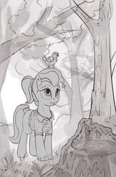 Size: 468x717 | Tagged: artist:drafthoof, bird, derpibooru exclusive, doctor fauna, forest, monochrome, safe, scenery, smiling, solo, tree, tree stump