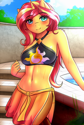 Size: 2000x3000 | Tagged: safe, artist:twistedscarlett60, sunset shimmer, unicorn, anthro, equestria girls, equestria girls series, forgotten friendship, belly button, bikini, blushing, breasts, clothes, explicit source, female, high res, looking at you, mare, shoulder fluff, smiling, solo, swimming pool, swimsuit, towel, water, wet