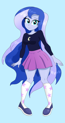 Size: 1740x3264 | Tagged: artist:iyoungsavage, blue background, clothes, cute, equestria girls, female, long hair, looking at you, lunabetes, moe, princess luna, safe, shoes, simple background, skirt, socks, solo, vice principal luna, younger