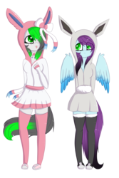 Size: 2139x3204 | Tagged: anthro, artist:mimihappy99, black socks, clothes, cosplay, costume, cute, dress, duo, earth pony, eevee, female, heart eyes, lesbian, mare, oc, oc:mimi happy, oc only, oc:wubsy, oc x oc, outfit, pegasus, pink socks, plantigrade anthro, pokémon, safe, shiny pokémon, shipping, simple background, socks, sylveon, transparent background, wingding eyes