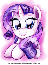 Size: 750x1000 | Tagged: safe, artist:nanook123, artist:whitediamonds, color edit, edit, rarity, pony, unicorn, abstract background, colored, cute, ear fluff, female, looking at you, mare, raribetes, smiling, solo