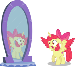 Size: 6168x5484 | Tagged: safe, artist:frownfactory, artist:parclytaxel, apple bloom, alicorn, .svg available, absurd resolution, alicornified, apple bloom's bow, bloomicorn, bow, cutie mark, female, filly, hair bow, horn, mirror, open mouth, race swap, reflection, simple background, solo, startled, svg, transparent background, two toned wings, vector, wings