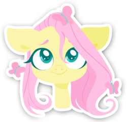 Size: 2334x2250   Tagged: safe, artist:belka-sempai, fluttershy, butterfly, pegasus, pony, bust, cute, female, floppy ears, lineless, looking at something, looking at you, looking up, mare, portrait, shyabetes, simple background, smiling, solo, sticker, stray strand, transparent background, white outline, wings