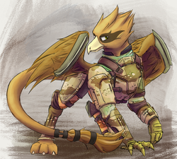 Size: 1280x1154 | Tagged: artist:blvckmagic, combat armor, fallout equestria, griffon, griffon oc, male, oc, oc only, oc:shady night, pipbuck, safe, solo, wing blades