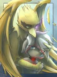 Size: 2118x2864 | Tagged: artist:blvckmagic, cedy, cuddling, duo, feather, female, griffon, male, mare, oc, oc:cella, oc only, oc:shady night, pony, pouting, safe