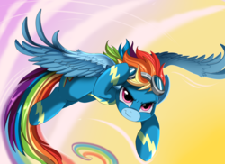 Size: 2494x1816 | Tagged: safe, artist:pridark, rainbow dash, pony, art, awesome, clothes, commission, female, flying, goggles, looking at you, mare, multicolored hair, smiling, solo, uniform, wonderbolts uniform