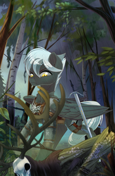 Size: 1910x2917 | Tagged: antlers, artist:taneysha, forest, gray coat, grey coat, medallion, oc, oc only, pegasus, pony, safe, skull, solo, sword, the witcher, weapon, white mane, yellow eyes