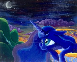 Size: 1024x818   Tagged: source needed, useless source url, safe, artist:colorsceempainting, princess luna, alicorn, pony, balcony, canvas, cloud, female, mare, moon, night, paint, painting, scenery, solo, stars, traditional art, watermark