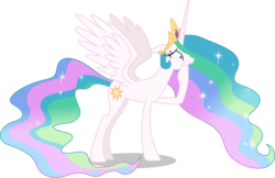 Size: 5000x3233 | Tagged: safe, artist:dashiesparkle edit, edit, editor:slayerbvc, vector edit, princess celestia, alicorn, pony, celestial advice, .svg available, accessory-less edit, barehoof, crown, female, jewelry, mare, missing accessory, overreacting, regalia, simple background, solo, transparent background, vector, worried