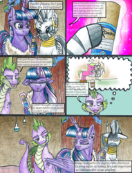 Size: 1950x2550 | Tagged: alicorn, artist:tillie-tmb, clothes, comic:the amulet of shades, daisy, flower wishes, magic, noodle, noodle incident, older, safe, shampoo, spike, sweat, traditional art, twilight sparkle, twilight sparkle (alicorn), zecora, zecora's hut