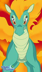 Size: 1761x3000 | Tagged: artist:xwhitedreamsx, community related, female, fire, longma, looking at you, safe, slit eyes, solo, them's fightin' herds, tianhuo