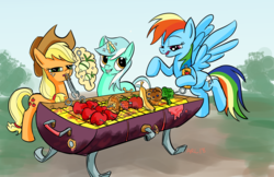 Size: 2448x1584 | Tagged: apple, applejack, artist:lytlethelemur, banana, barbeque, broccoli, earth pony, food, levitation, lyra heartstrings, magic, muffin, onion, pegasus, pony, rainbow dash, safe, shishkebab, strawberry, telekinesis, that pony sure does love apples, tomato, tongs, unicorn, waffle